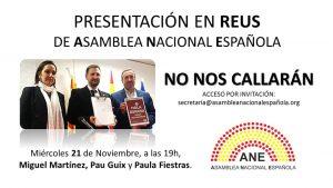 El 21-N presentación de la Asamblea Nacional Española en Reus. El próximo miércoles 21 de noviembre,