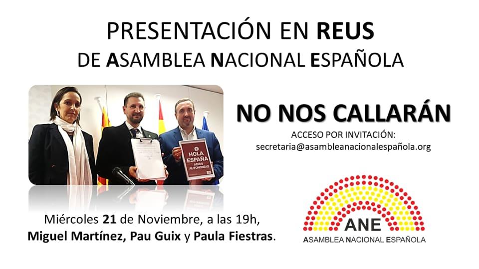 "The 21-N presentation of the ""Asamblea Nacional Española"" in Reus"