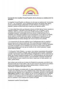 Comunicado de la Asamblea Nacional Española sobre las elecciones en Andalucía